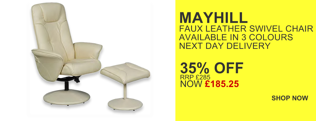 HOMEPAGE - Mayhill Faux Leather Swivel Chair & Footstool - 35% OFF