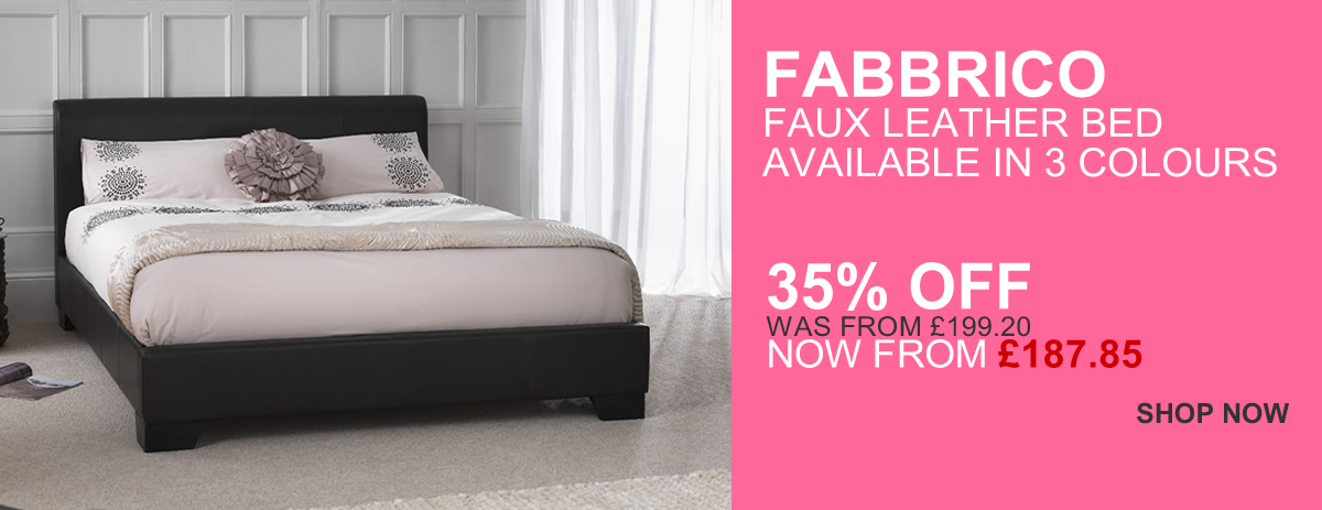 Fabbrico Faux Leather Beds available in 3 colours - 35% OFF