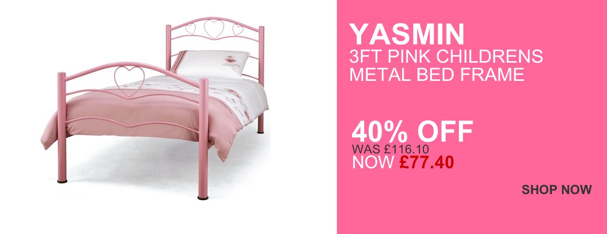 Yasmin 3ft Pink Childrens Metal bed Frame - 40% OFF