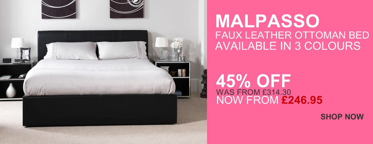 Malpasso Faux Leather Bed Frames in 3 colours - 45% OFF!
