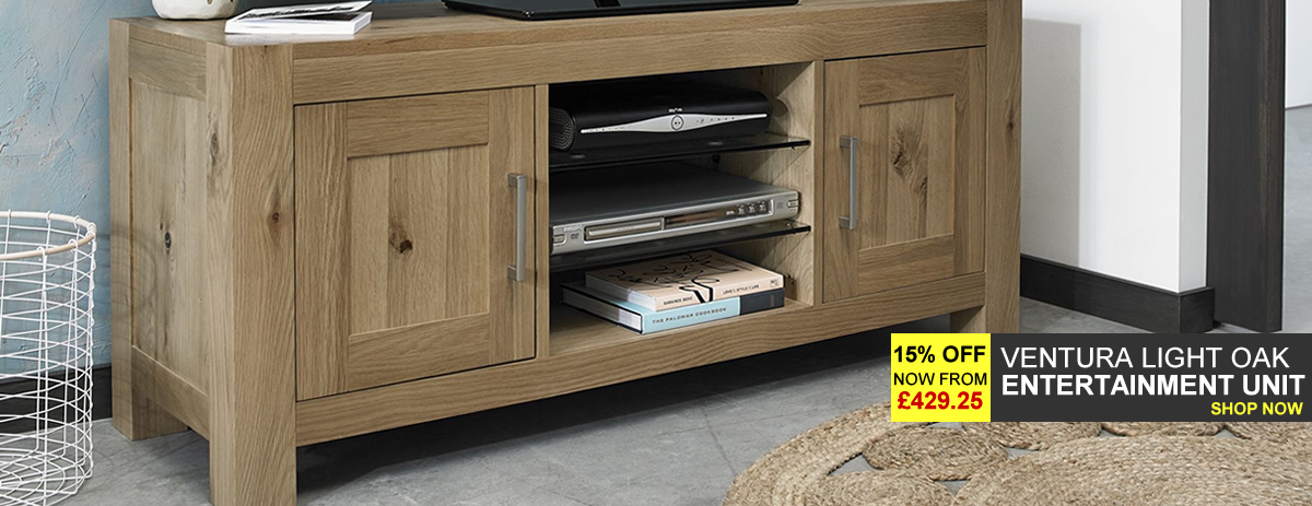 Ventura Light Oak Entertainment Unit - 15% Off