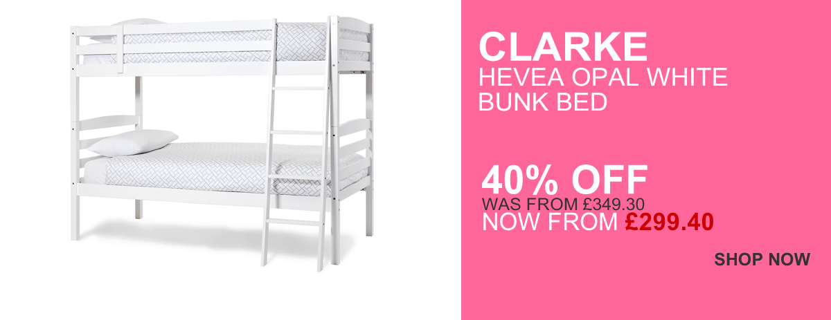 Clarke Opal White Bunk Bed - 40% Off