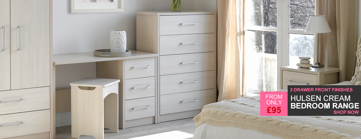 Hulsen Cream Bedroom Furniture - 3 Drawer Front Finishes