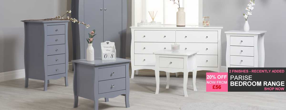 Pairse Bedroom Range - Available in Grey or White