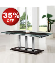 Avesta Black Glass Extending Dining Table *Special Offer*