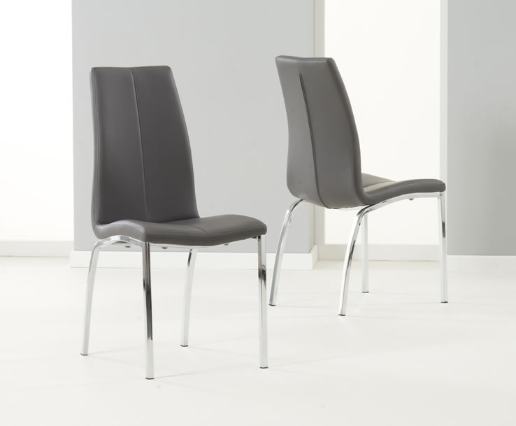 flynn grey faux leather dining chairs