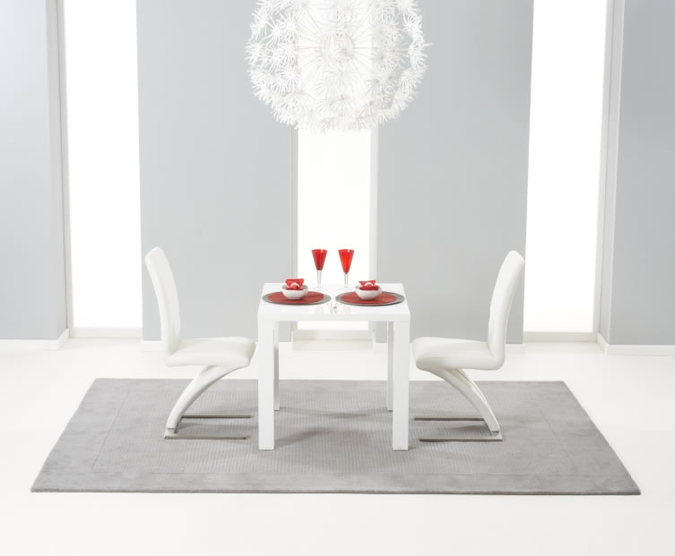 Holmes Small White High Gloss Kitchen Table And Chairs
