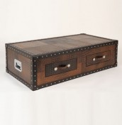 Guildford Genuine Leather Mock Croc Trunk Coffee Table