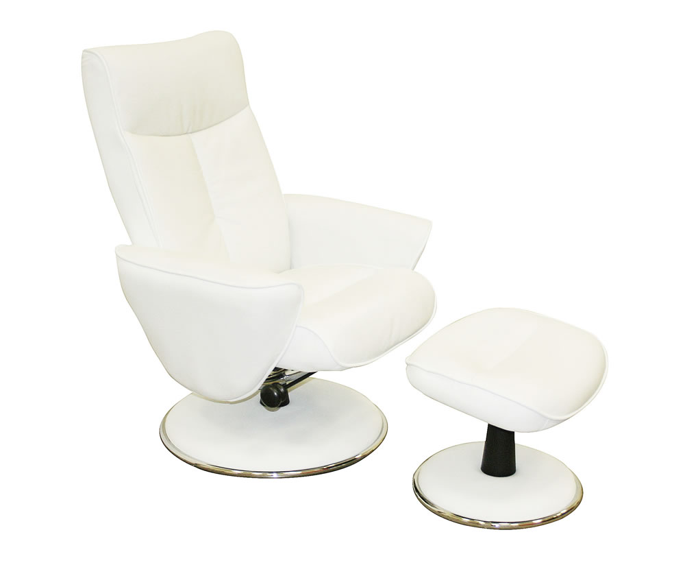 Suzi white top grain leather swivel chair and foot stool uk delivery - Swivel feet for chairs ...