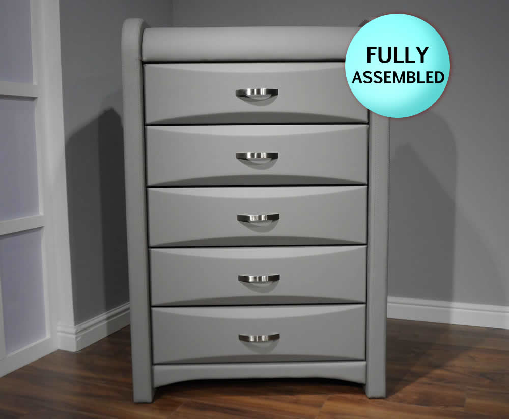Algarve Grey Faux Leather 5 Drawer Chest