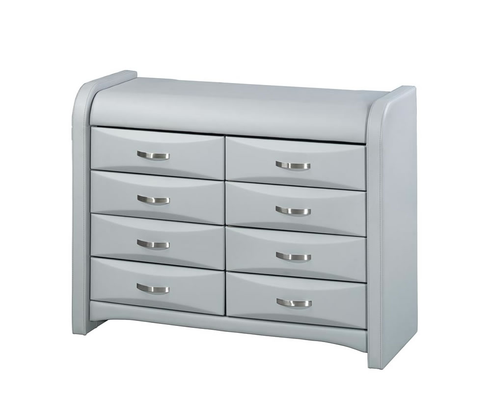 Leather Dressers And Chest Of Drawers ~ Algarve grey faux leather dresser