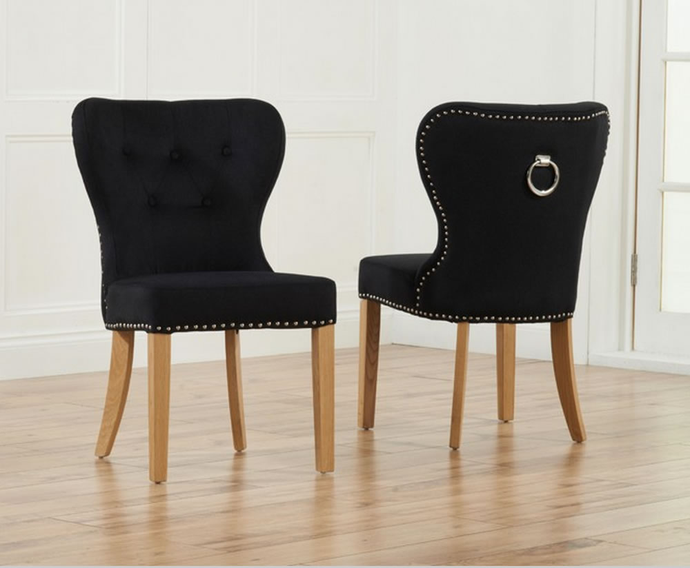 sudbury black velvet upholstered dining chairs. Black Bedroom Furniture Sets. Home Design Ideas