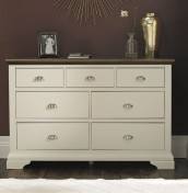 Hampstead Soft Grey and Walnut 3+4 Drawer Wide Chest