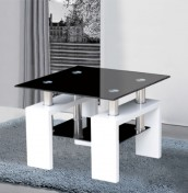 Sainte White Gloss and Black Glass Lamp Table