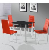 Enrico Black Glass Dining Set