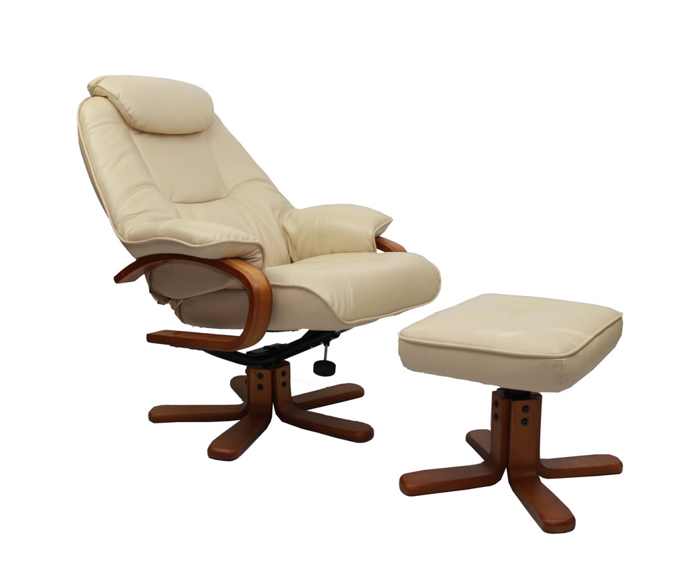 Senado cream bonded leather swivel chair and foot stool - Swivel feet for chairs ...
