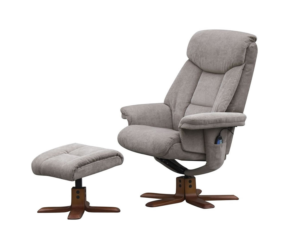 Littleham mink velour massage swivel chair and foot stool for Chair and footstool