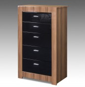 Beckinsale Walnut and Black Gloss 5 Drawer Tall Chest