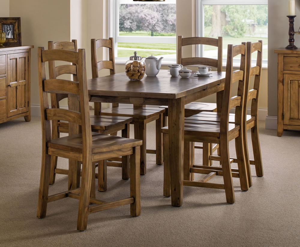 Southsea Antique Pine Extending Dining Table And Chairs