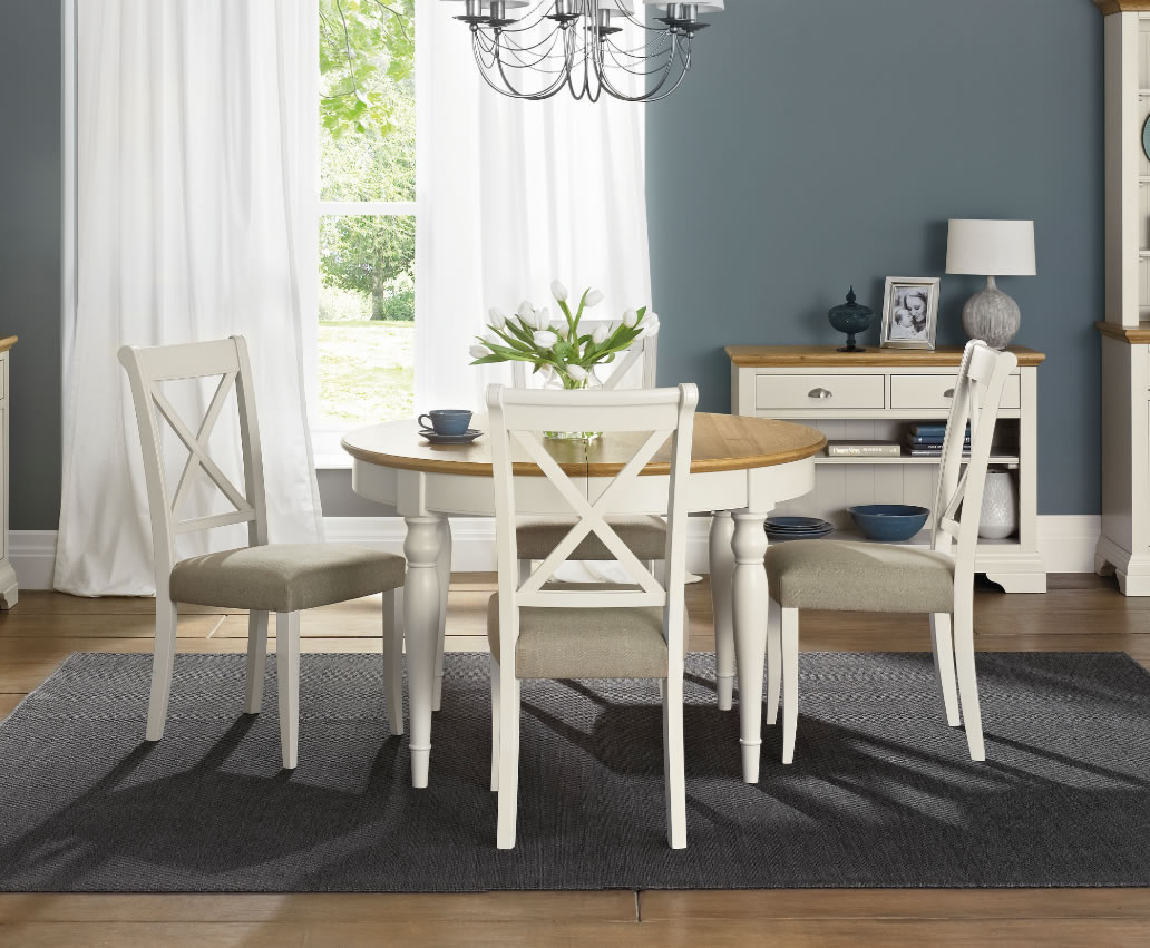 Hampstead Soft Grey & Oak Round Extending Dining Table and ...