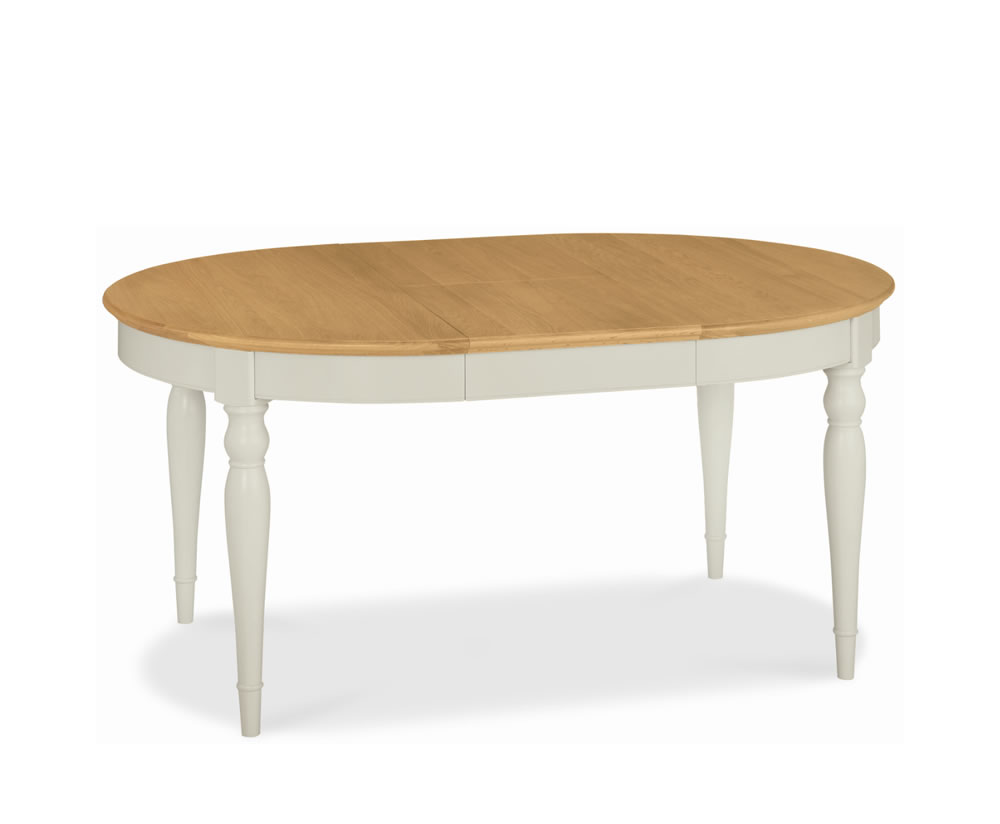 Hampstead Soft Grey And Oak Round Extending Dining Table
