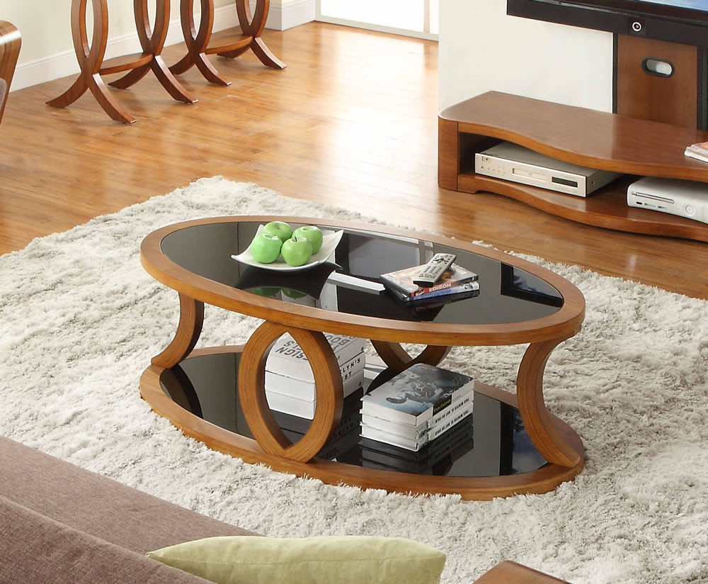 Warbler Walnut And Black Glass Coffee Table