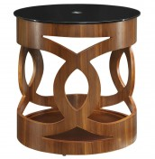 Warbler Walnut and Black Glass Lamp Table