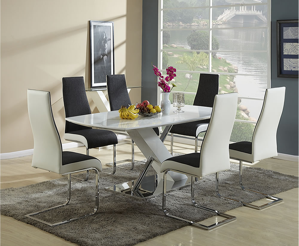 Euston White High Gloss Dining Table and Chairs : 109201 from franceshunt.co.uk size 1000 x 824 jpeg 151kB