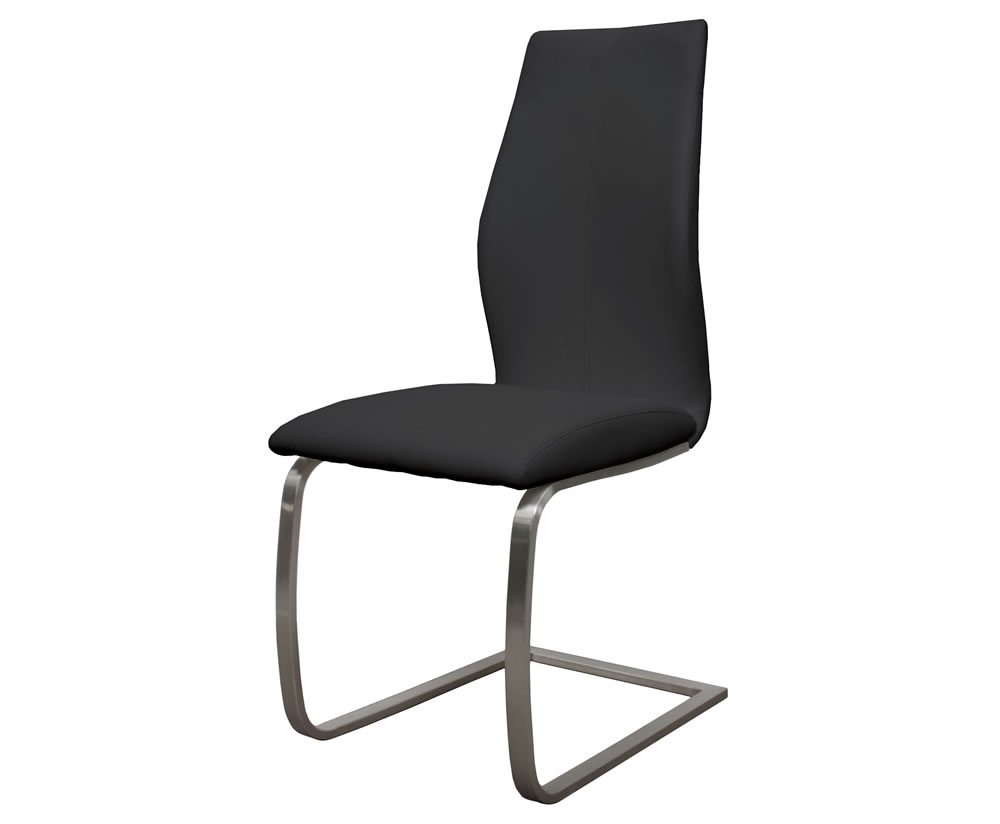 Goldman black faux leather dining chair for Black leather dining room chairs