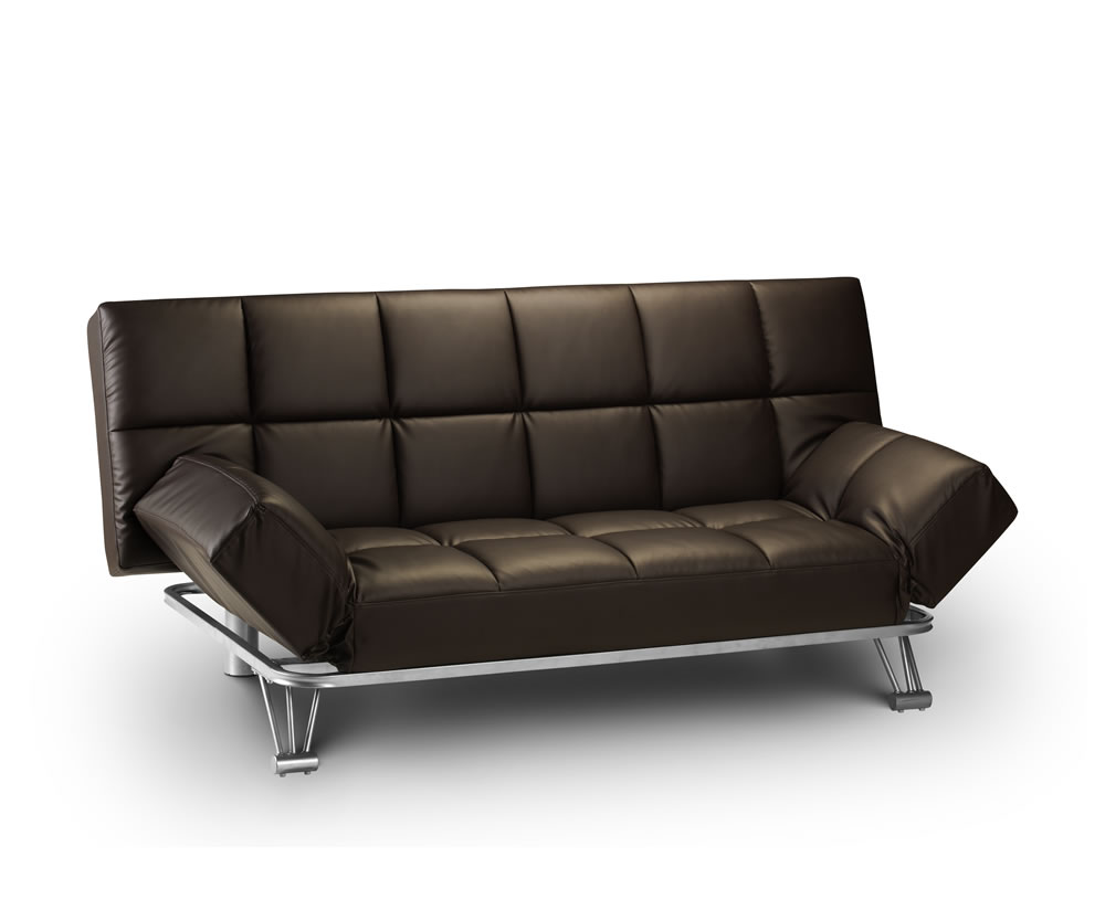 manhattan brown faux leather clic clac sofa bed. Black Bedroom Furniture Sets. Home Design Ideas