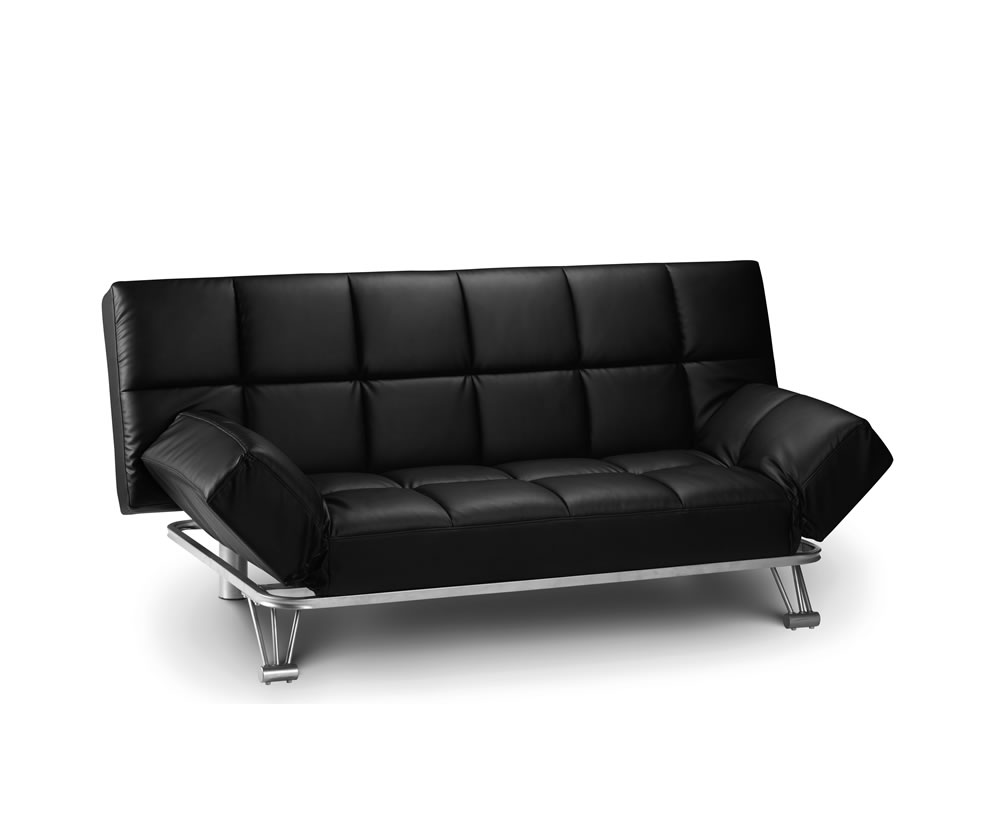 manhattan black faux leather clic clac sofa bed. Black Bedroom Furniture Sets. Home Design Ideas