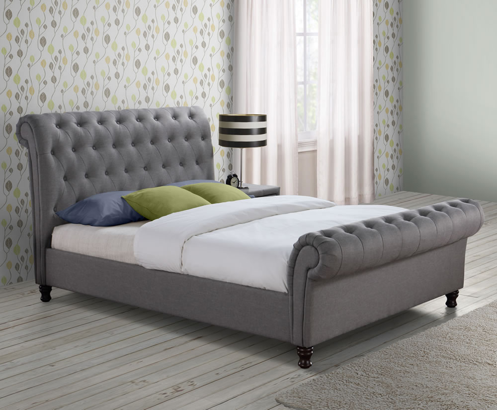 Francesco Grey Upholstered Bed Frame