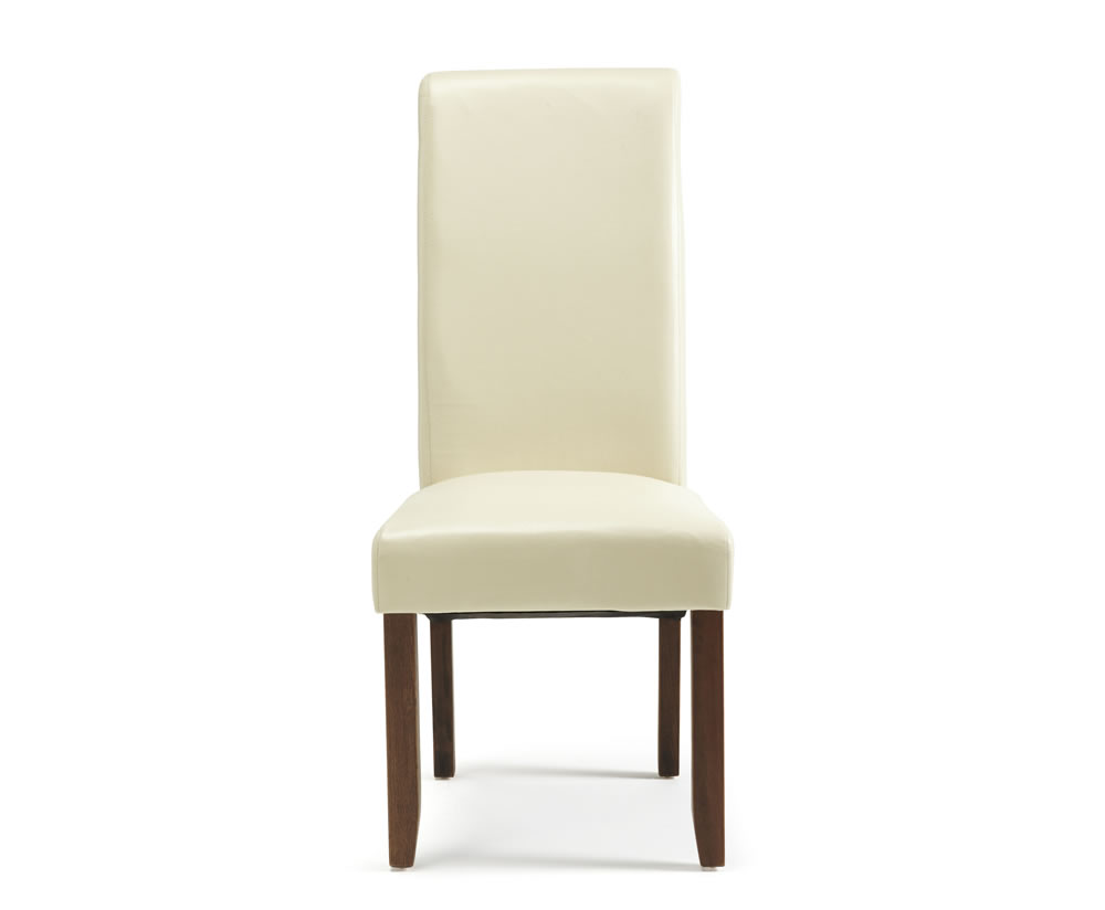 Cascade cream faux leather and walnut dining chair for Faux leather dining chairs