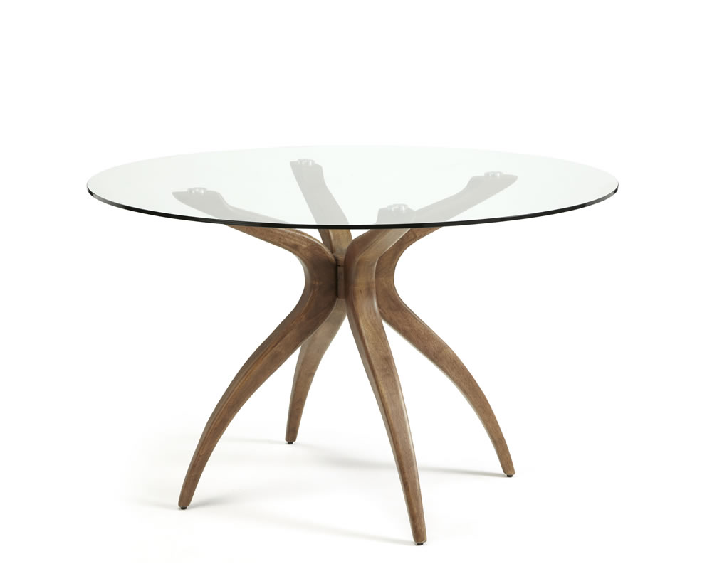 Adelaide round glass and walnut dining table frances hunt for Round glass dining table