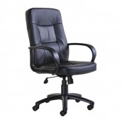 Fleet Black Leather Faced Desk Chair
