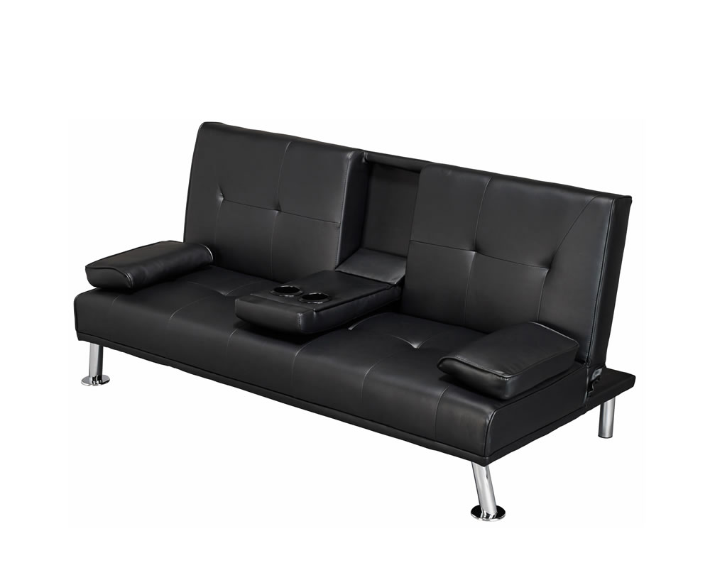 cinema black faux leather clic clac sofa bed. Black Bedroom Furniture Sets. Home Design Ideas