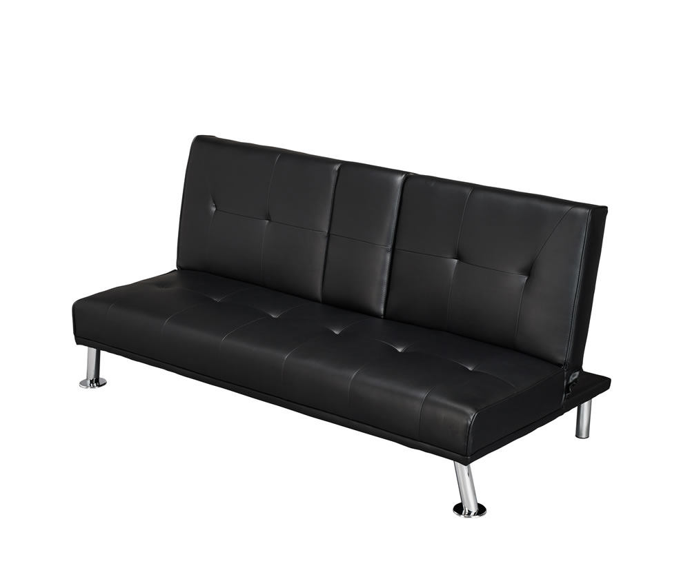 Cinema black faux leather clic clac sofa bed - Futon pour clic clac ...