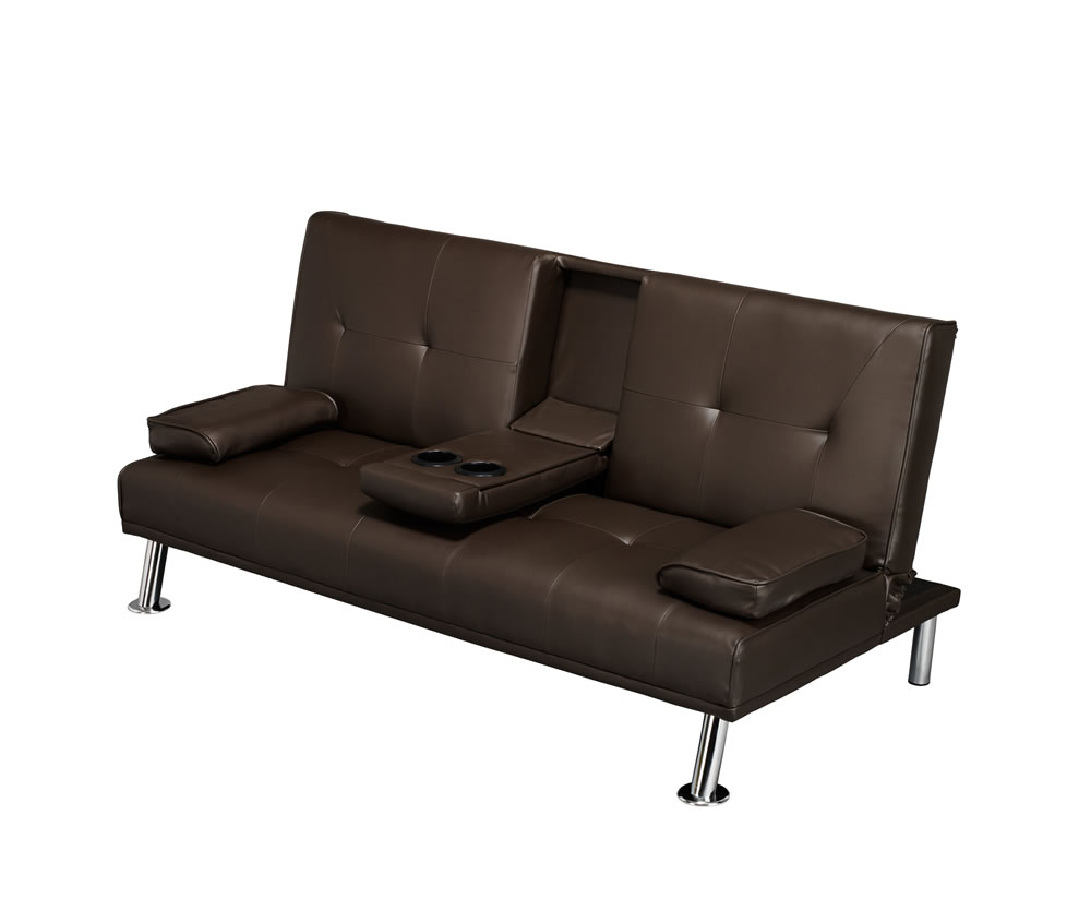 cinema brown faux leather clic clac sofa bed. Black Bedroom Furniture Sets. Home Design Ideas