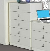 Sigrid White 5 Drawer Chest