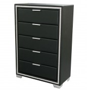 Marissa Black Faux Leather 5 Drawer Chest