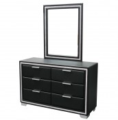 Marissa Black Faux Leather 6 Drawer Dresser with Mirror
