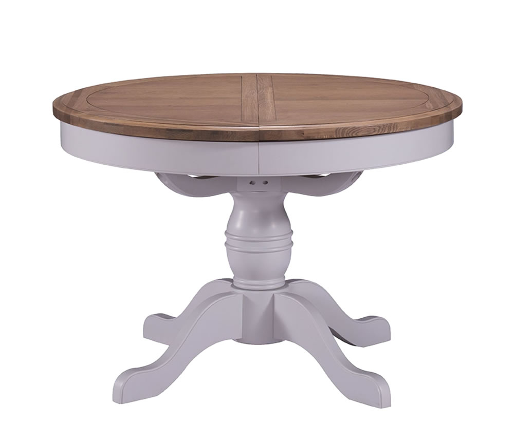Everette two tone round extending dining table and chairs for Round extending dining table