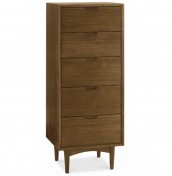 Orbit Walnut 5 Drawer Tallboy Chest