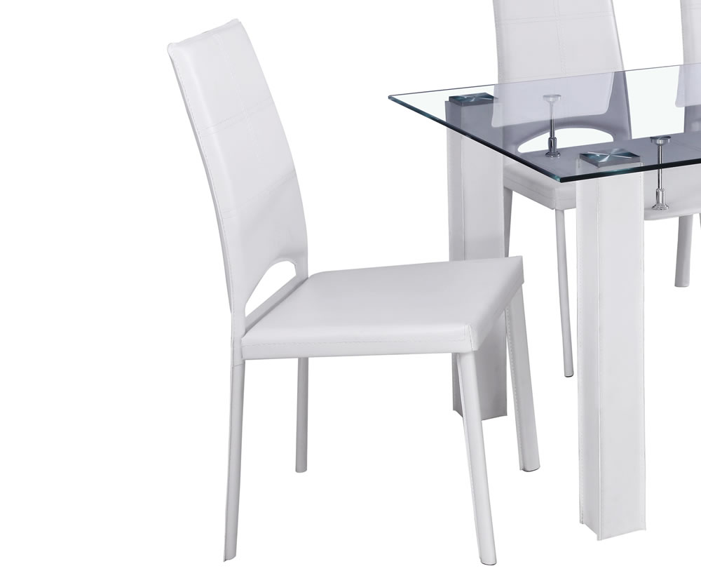 Rowland White Glass Dining Table And Chairs