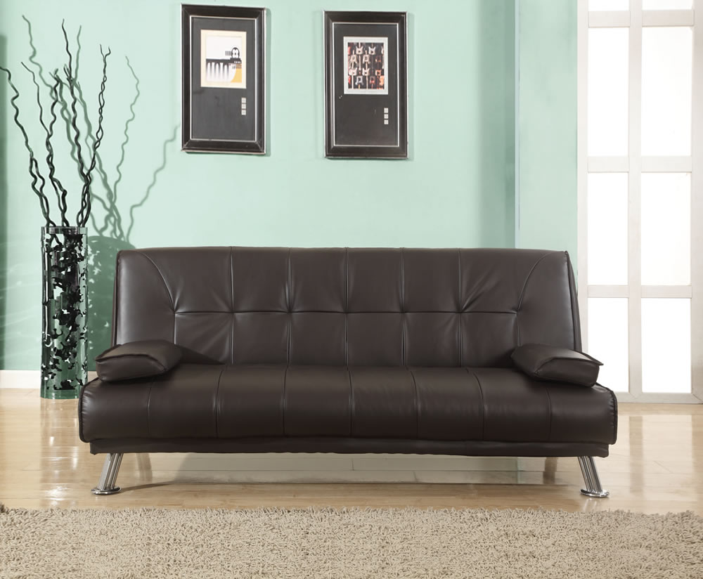 Brown Leather Sofa Bed Florence Faux Next Day Delivery