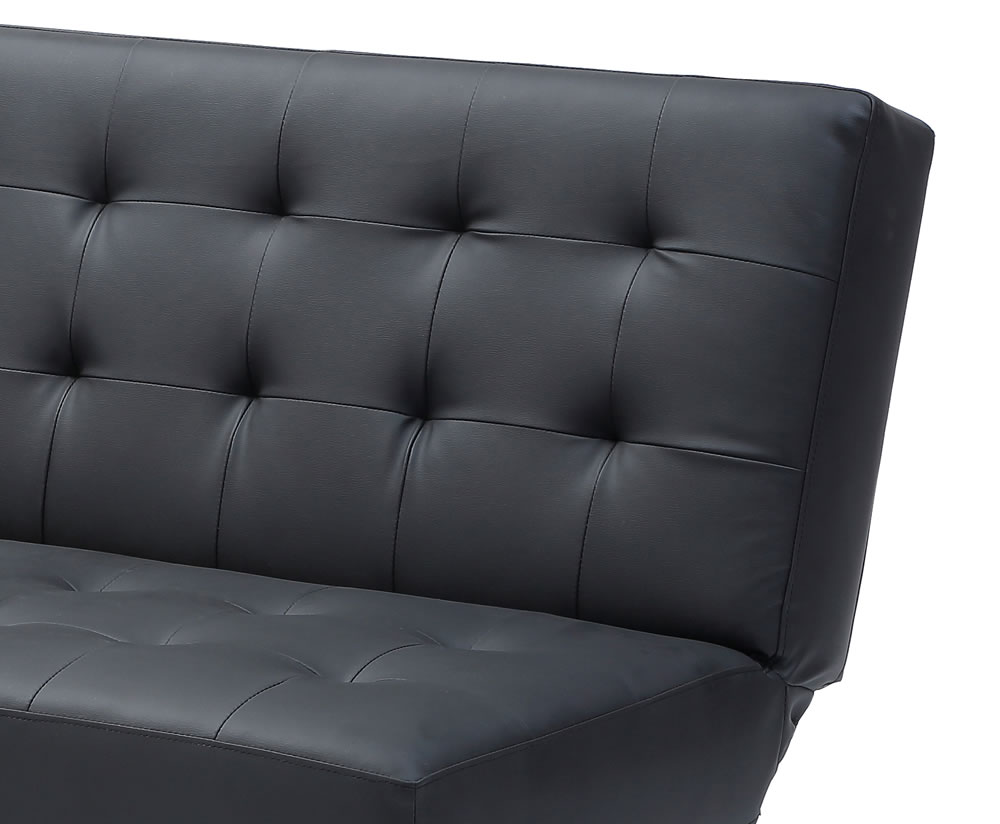 jacqui black faux leather sofa bed. Black Bedroom Furniture Sets. Home Design Ideas