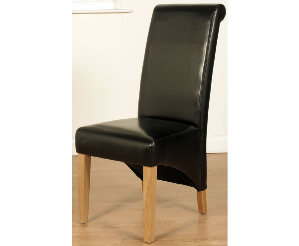 Nico black faux leather dining chairs for Black leather dining chairs