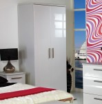 Queen 2 Door White High Gloss Wardrobe *Special Offer*
