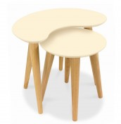 Orbit Oak and Ivory Nest of Tables