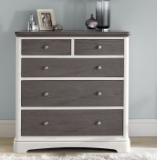 Neve Soft Grey and Weathered Oak 2+3 Drawer Chest